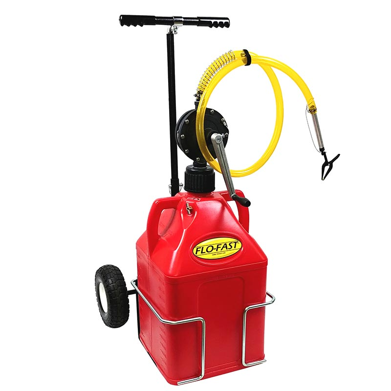 """FLO-FAST Versa Cart with 10"""" Tires, Pump and (1) 15 Gallon Container, Red"""
