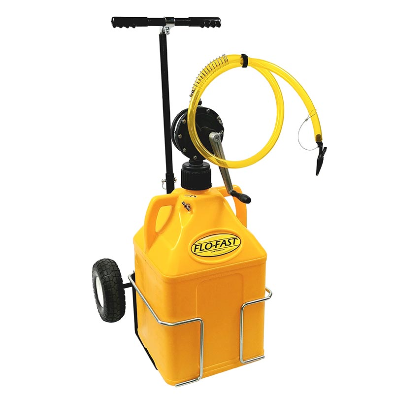 """FLO-FAST Versa Cart with 10"""" Tires, Pump and (1) 15 Gallon Container, Yellow"""