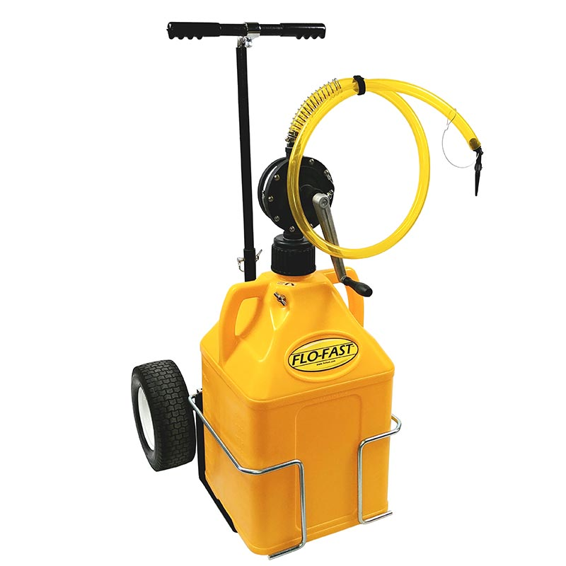 """FLO-FAST Versa Cart with 12"""" Tires, Pump and (1) 15 Gallon Container, Yellow"""