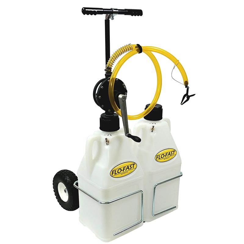 """FLO-FAST Versa Cart with 10"""" Tires, Pump and (2) 7.5 Gallon Containers, Natural"""