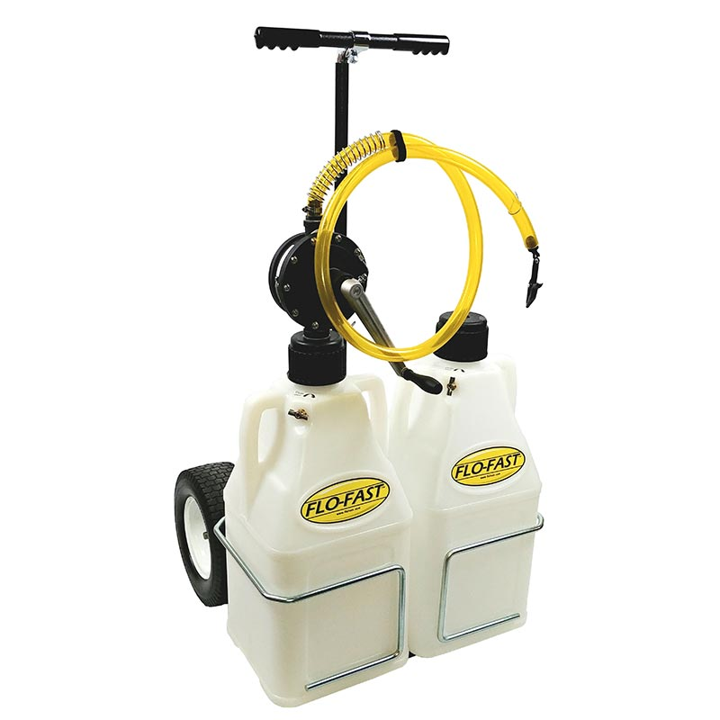 """FLO-FAST Versa Cart with 12"""" Tires, Pump and (2) 7.5 Gallon Containers, Natural"""