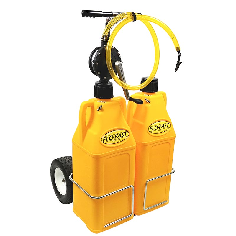 """FLO-FAST Versa Cart with 12"""" Tires, Pump and (2) 10.5 Gallon Containers, Yellow"""