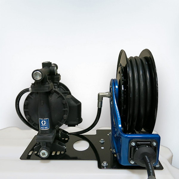 Hose Reel and Diaphragm Pump Plate Mounts Universal Single Pump Package on Top of Storage Tank. Use with T120, T130, T180, T240 and T330 Tote-A-Lube Tanks.