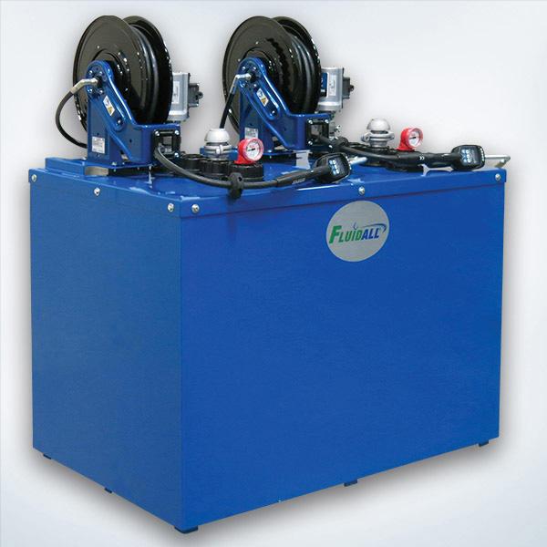 Hybrid Double Wall Tank NON-PRESET Meter Package: Includes Tank with Built-In Containment, Reel Bracket, Fluid Level Gauge and Lockable Vent Cap and (1ea) Dispense Equipment per Inner Tank (Graco LD 3:1 Pump, Graco SD 50' Reel, Graco LD Digital NON-PRESET Gun, Air Filter Regulator and Down Tube)